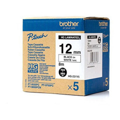 BROTHER LABLE TAPE P-TOUCH HG-231V5 BLACK ON WHITE 12MM
